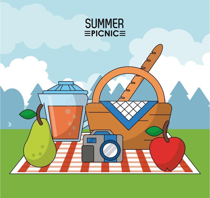 Colorful poster of summer picnic with outdoor landscape and picnic basket in tablecloth with pear and juice jar and stock illustration