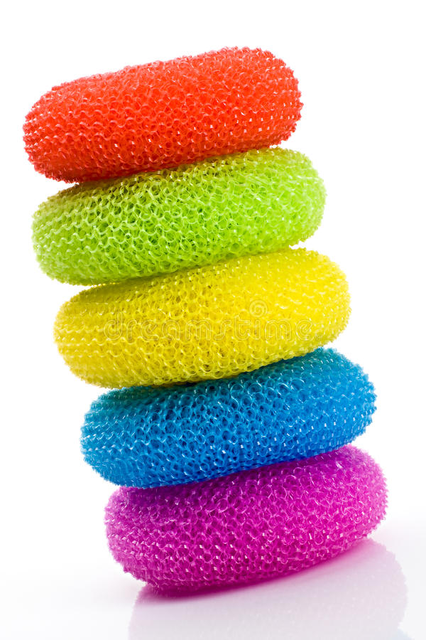 Download Colorful pot scrubbers stock image. Image of kitchen - 13346495