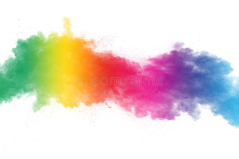 Colorful powder explosion on white background. Abstract pastel color dust particles splash.  stock image
