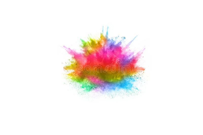 Colorful powder explosion on white background. stock photography