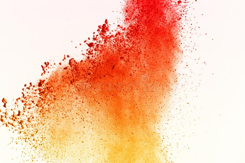 Colorful of powder explosion on white background. Colorful dust explode. Paint Holi.Colorful cloud splash. royalty free stock photography