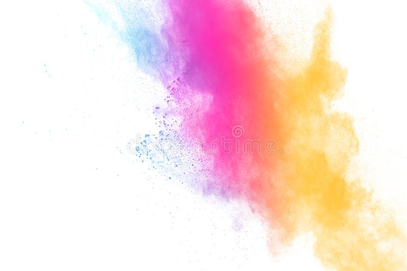 Colorful powder explosion on white background.Pastel color dust particle splashing royalty free stock photo