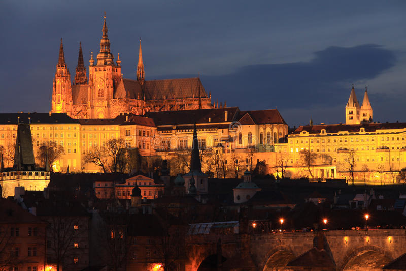 Colorful Prague gothic Castle in the Night stock image