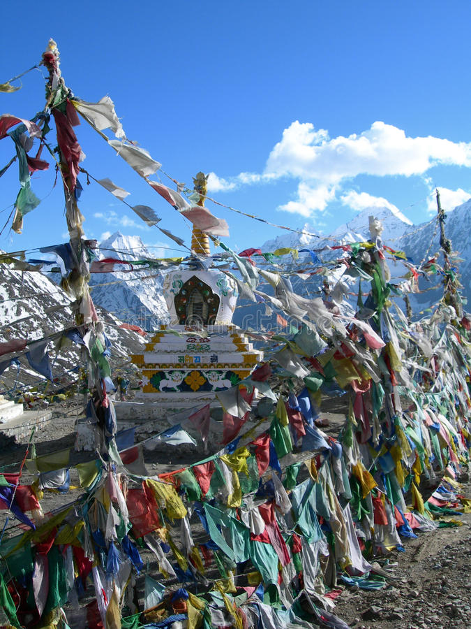 Colorful prayer flags in himalaya region royalty free stock image