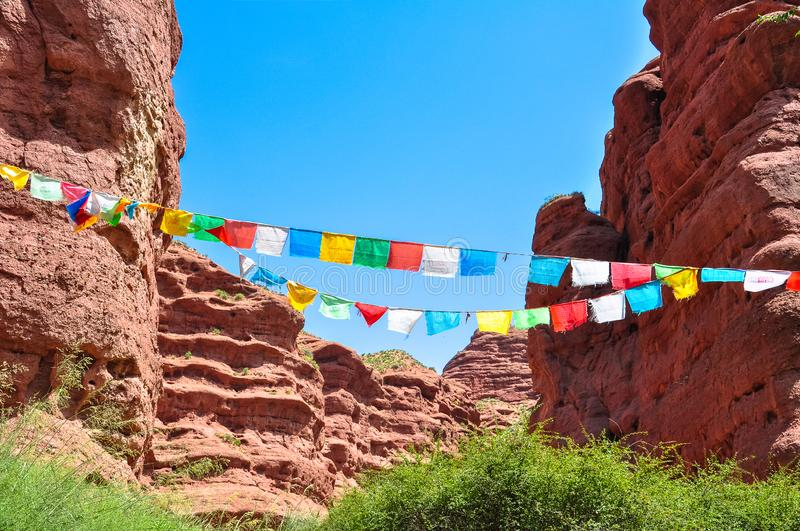 Colorful prayer flags. Prayer flags in tibet mountain stock photography