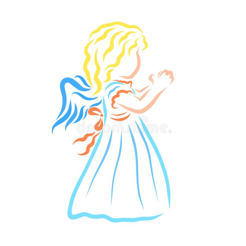 Colorful, praying little winged girl stock illustration