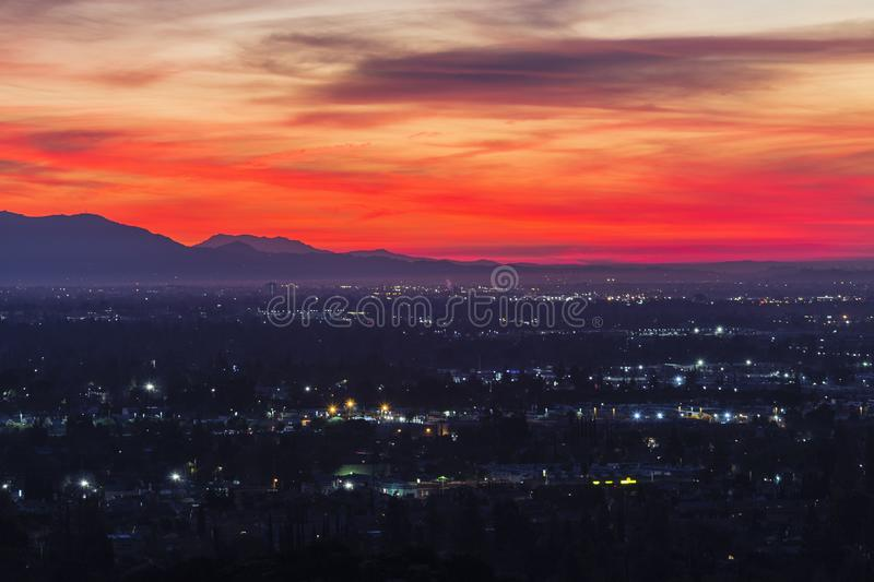 San Fernando Valley Predawn Los Angeles California. Colorful predawn view of San Fernando Valley neighborhoods and the San Gabriel Mountains in the city of Los stock photo