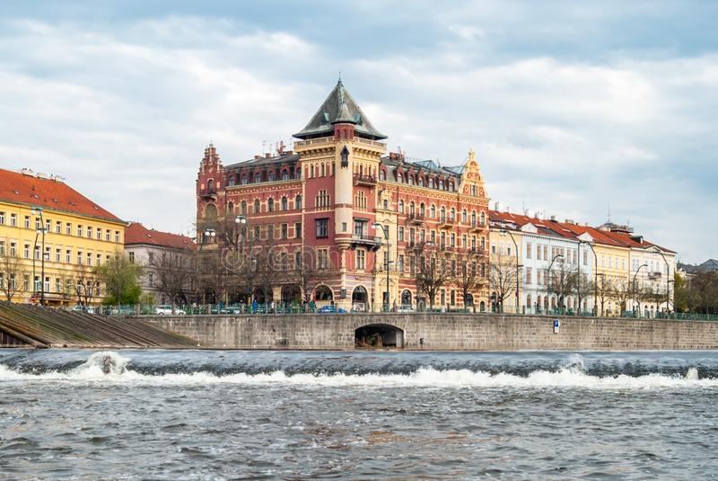 Colorful pretty building on the Vltava river quay. Prague, Czech, republic, bohemia, landmark, praha, attraction, capital, city, aerial, ancient, architecture stock images