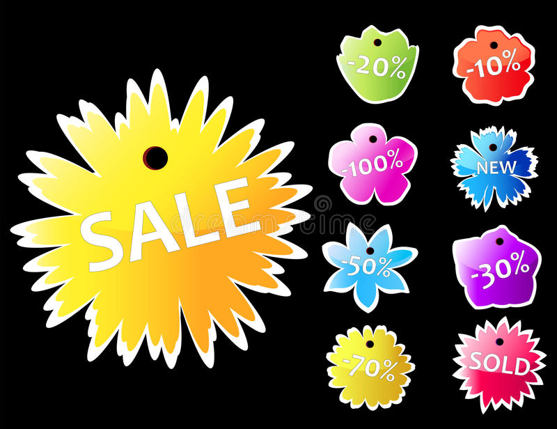 Colorful price labels. Shape of flowers