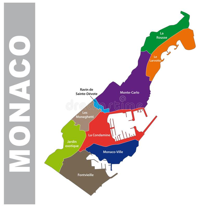 Colorful Principality of Monaco administrative and political map stock illustration