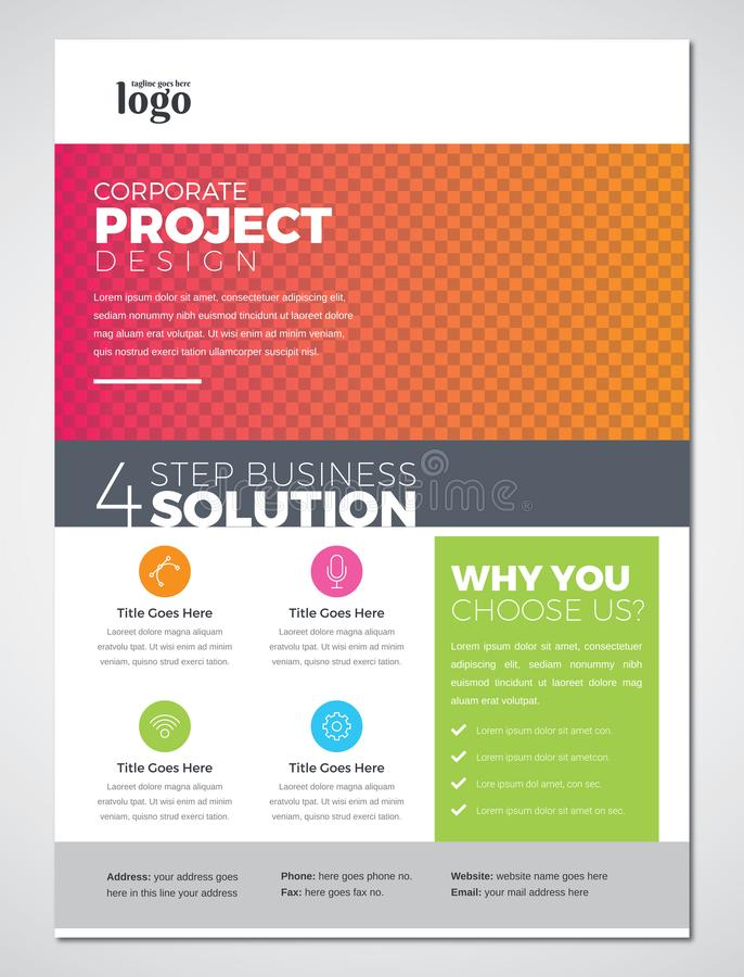 Colorful Print Ready Business Flyer Design Template royalty free illustration