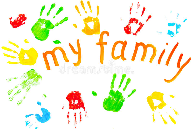 The Colorful Prints Of The Family`s Palms. Royalty Free Stock Photography