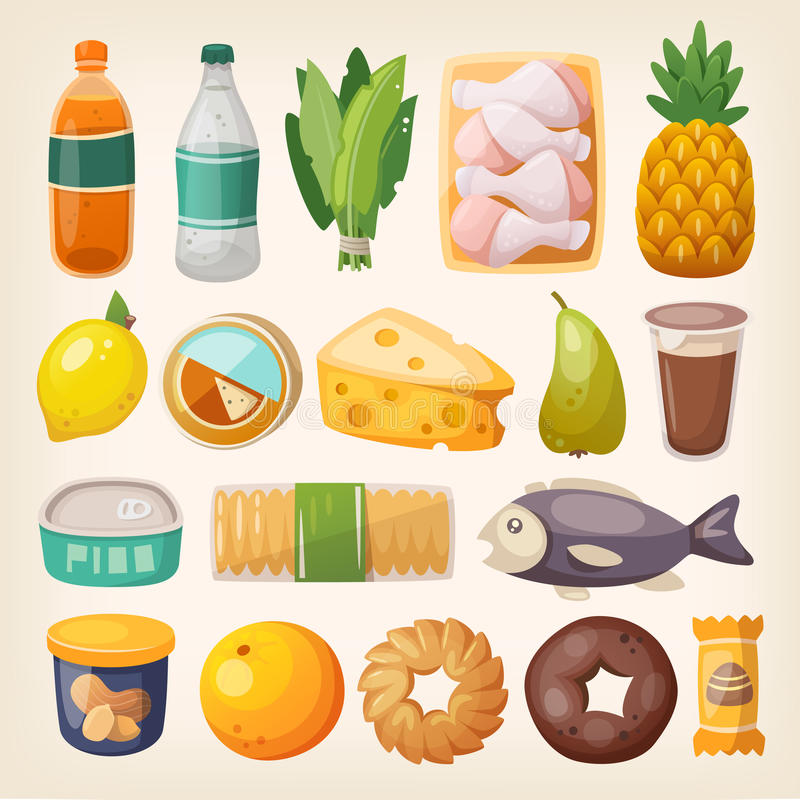 Colorful product icons stock illustration