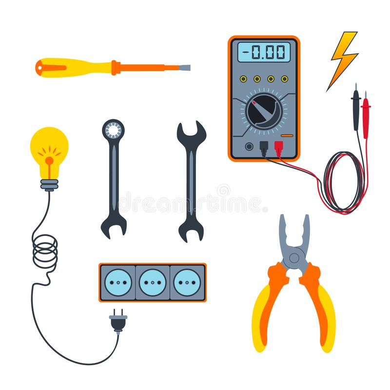 Colorful professional electrician tools or equipment isolated on white background. Pliers, multimeter, wrench, screwdriver stock illustration