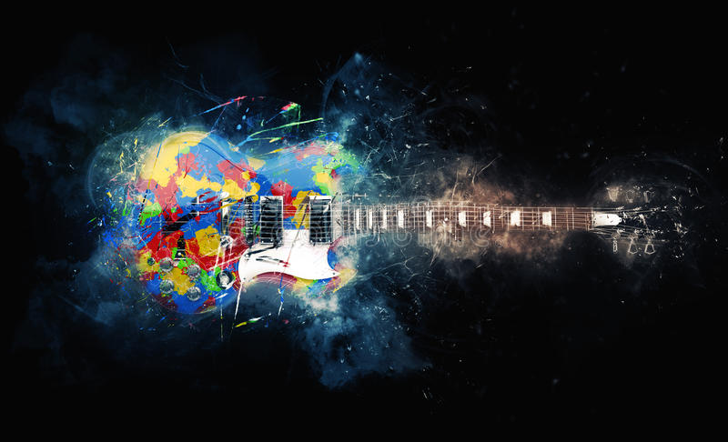 Colorful psychedelic rock guitar stock illustration