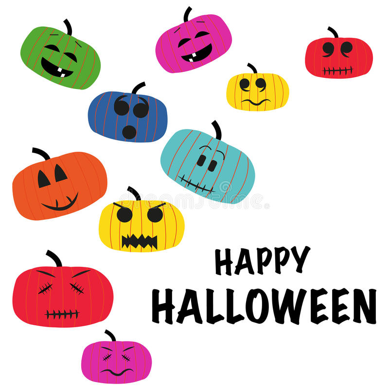 Colorful pumpkins with funny faces greeting card stock illustration