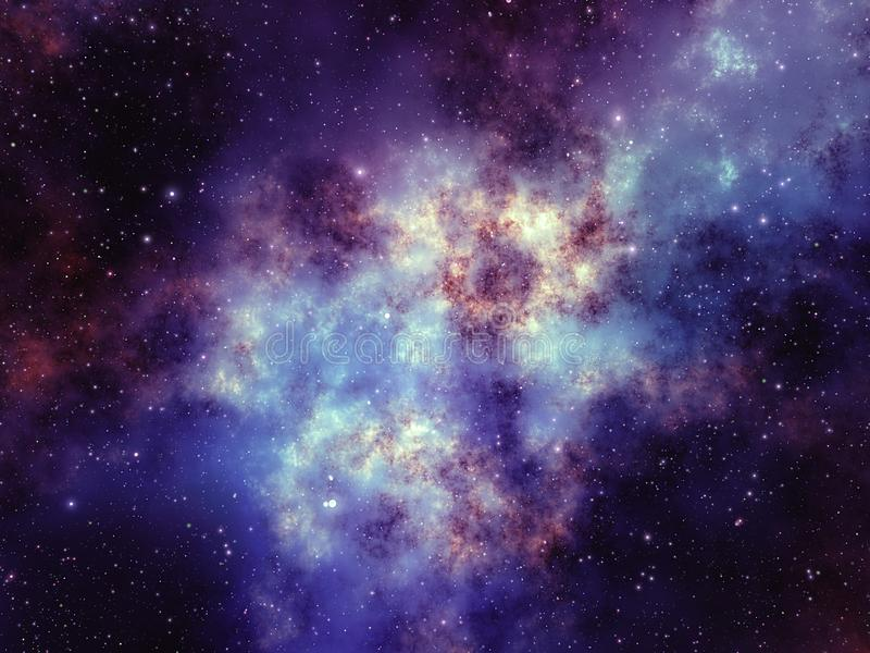Colorful purple nebula formation and star cluster in deep space stock illustration