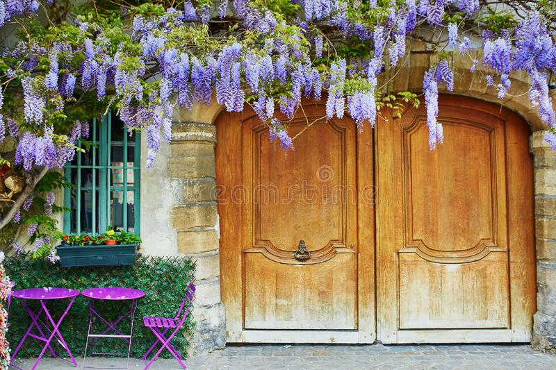 Colorful purple tables of outdoor Parisian cafe and wisteria in full bloom stock image
