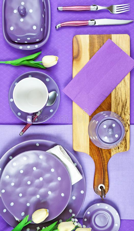 Colorful purple theme breakfast brunch table setting flatlay. royalty free stock photos