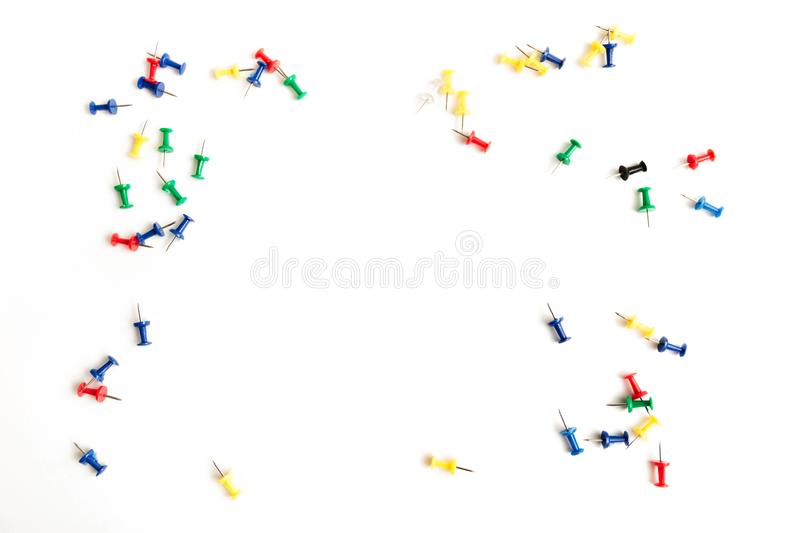 Colorful push pins isolated on white background royalty free stock image
