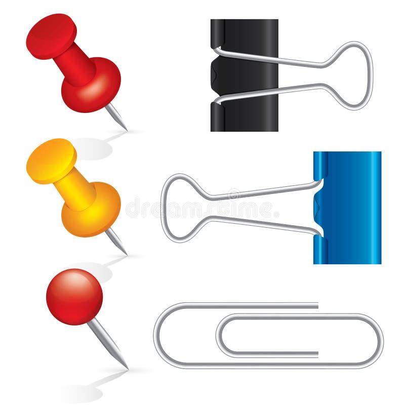 Colorful pushpin, paper clip, binder clip icon set stock illustration