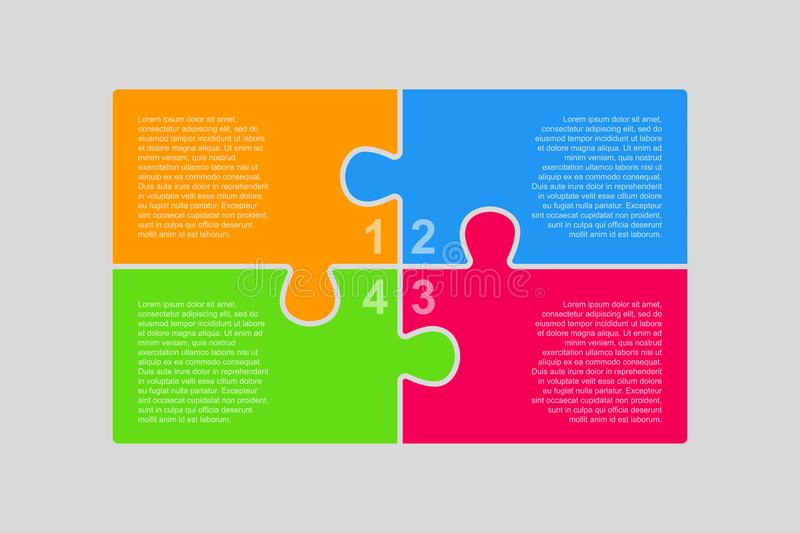 The Puzzle Pieces Infographic. Four Steps Diagram. vector illustration