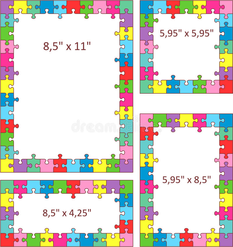 Colorful Puzzle Frames Stock Photos