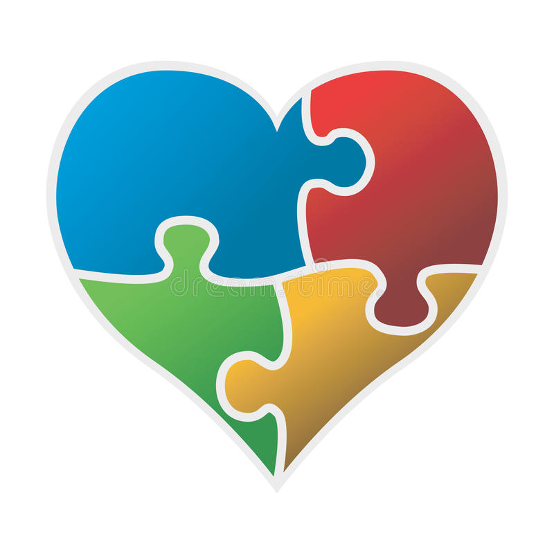 Download Colorful Puzzle Heart Vector Stock Vector - Image: 15735606