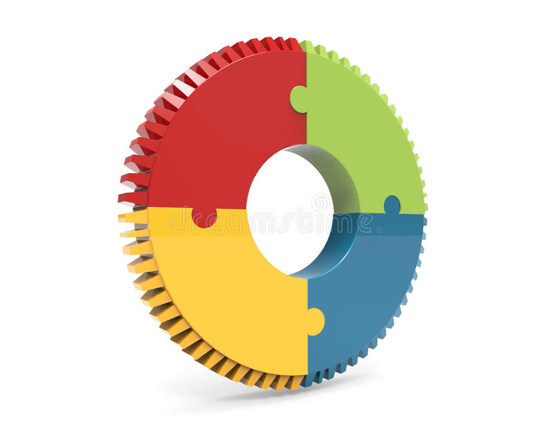 Colorful puzzle jigsaw gear isolated on white background with reflection effect royalty free illustration