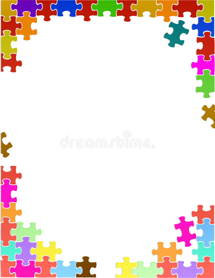 colorful puzzle pieces border template stock illustration