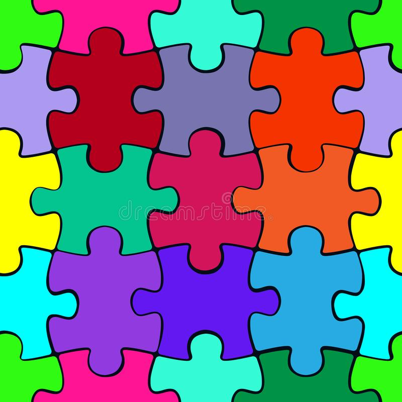 Colorful puzzle seamless pattern background. Jigsaw pieces template vector illustration