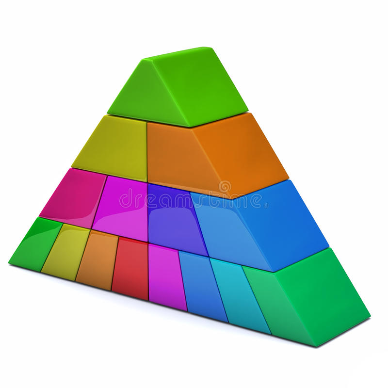 Colorful pyramid 3d stock photo
