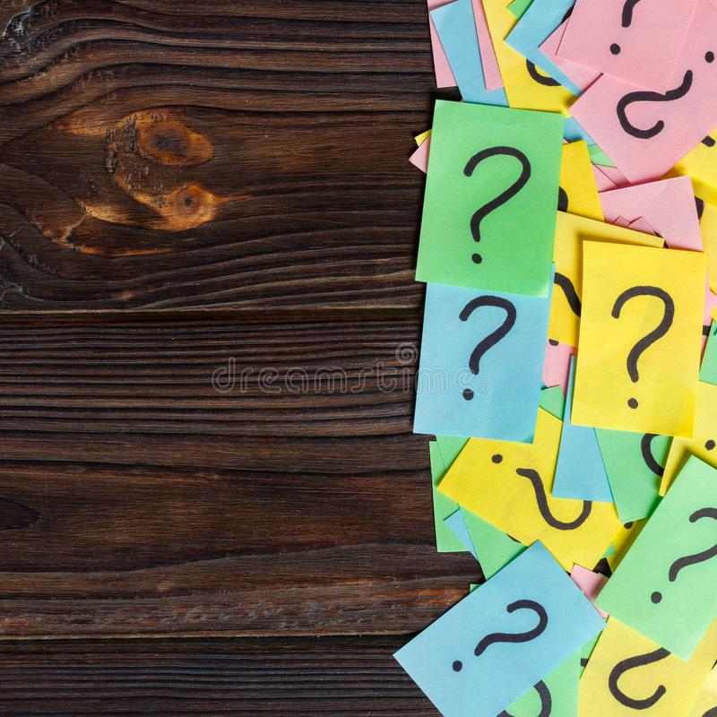 Free Colorful Question Marks Background Written Reminders Tickets. Ask Or Business Concept With Copy Space Royalty Free Stock Photography - 111730287