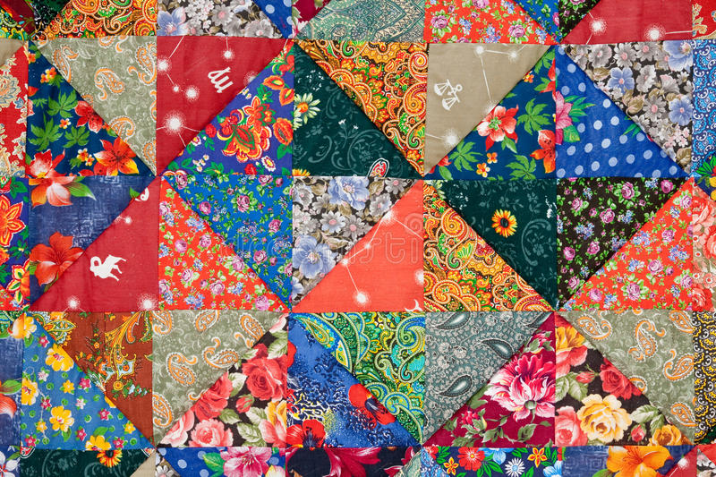 Colorful quilt background. Background of the colorful patchwork stock photo