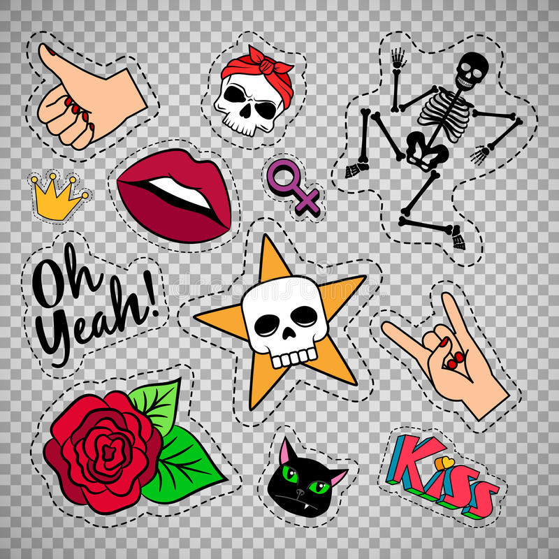 Colorful quirky patches on transparent background. Colorful quirky funny patches with skeleton, rose, skull and lips on transparent background. Vector stickers stock illustration
