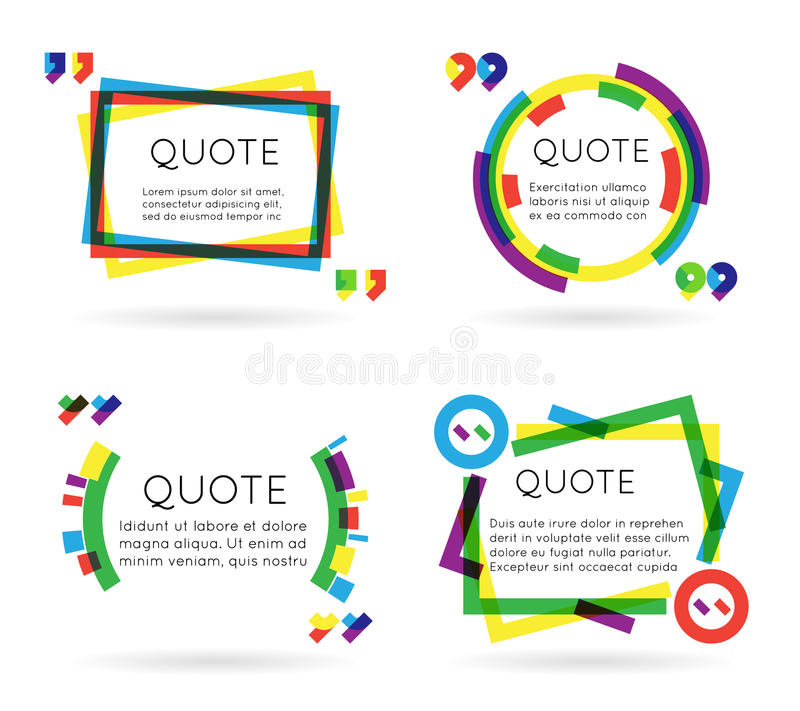Colorful quote template information text blog business mobile on white background vector illustration. Colorful quote template information text blog business stock illustration