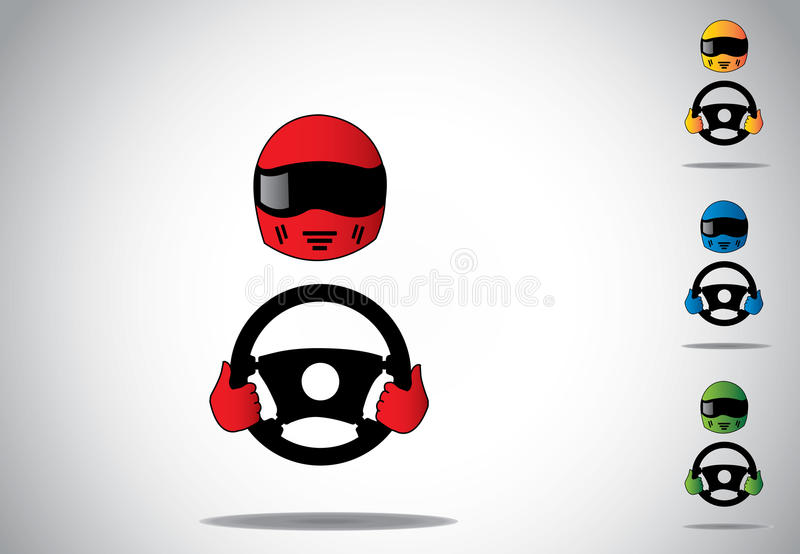 Colorful racing car driver helmet with hands on steering wheel vector illustration