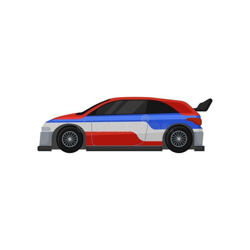 Colorful racing car with tinted windows and spoiler. Extreme auto sport. Flat vector element for mobile game royalty free illustration