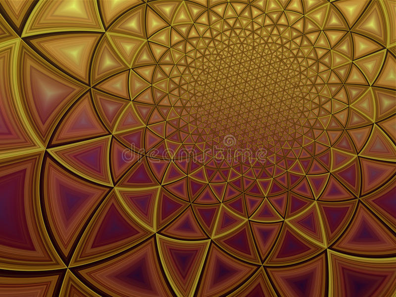 Colorful radiant polygonal gold yellow background illustration. Colorful radiant geometric polygonal gold yellow background royalty free illustration