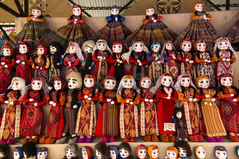 Colorful rag dolls as souvenirs from Armenia royalty free stock images