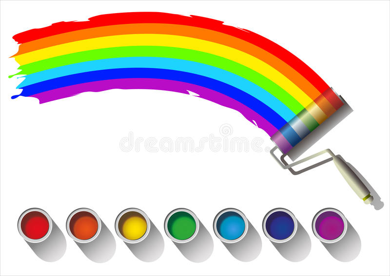 Colorful rainbow. Painted rainbow colors on a white background royalty free illustration