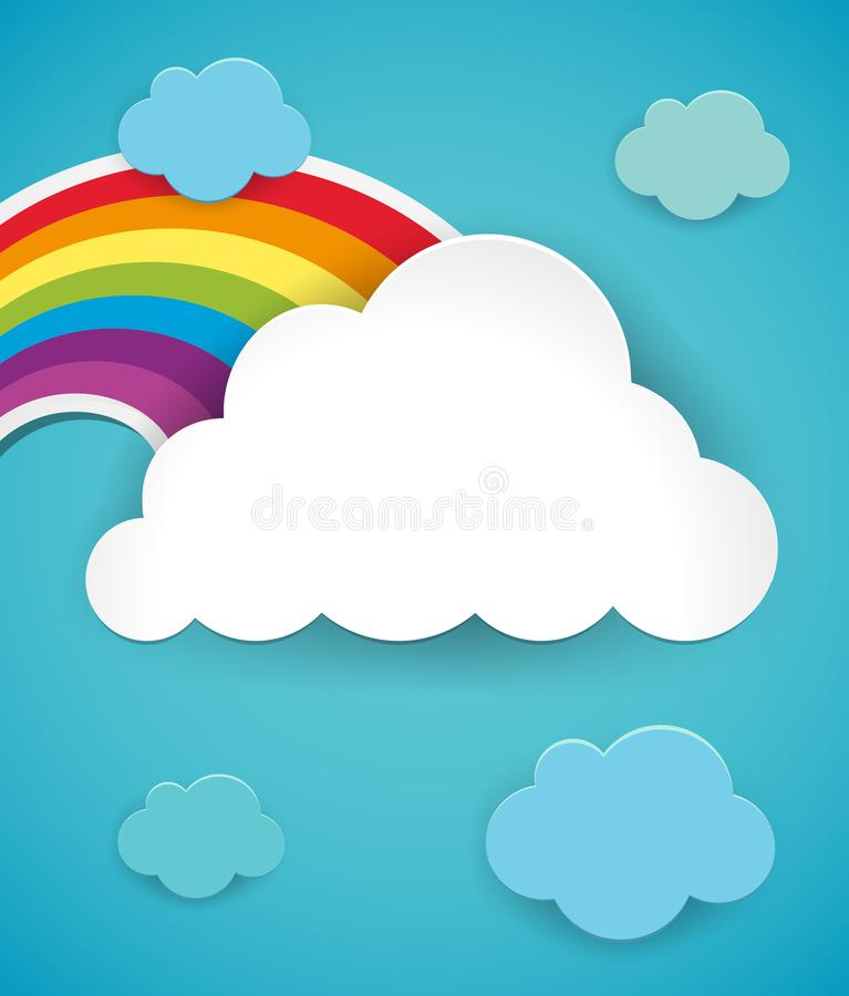 Colorful rainbow in blue sky vector illustration