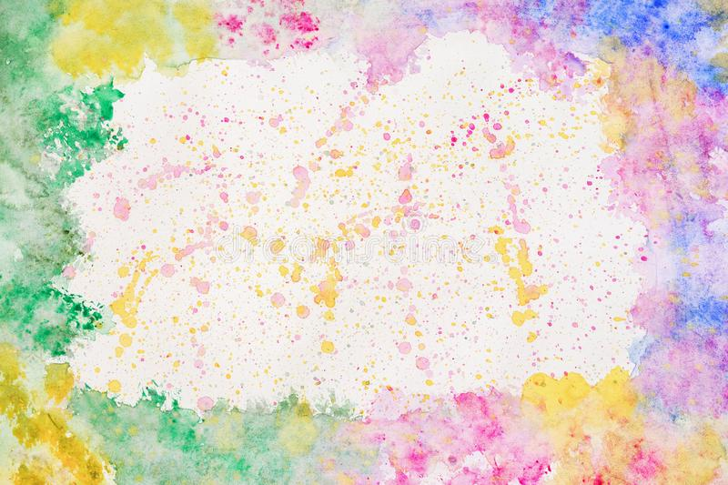 Colorful rainbow border for text or banner, card, template, design, formed by hand painted with bright blots, splashes vector illustration