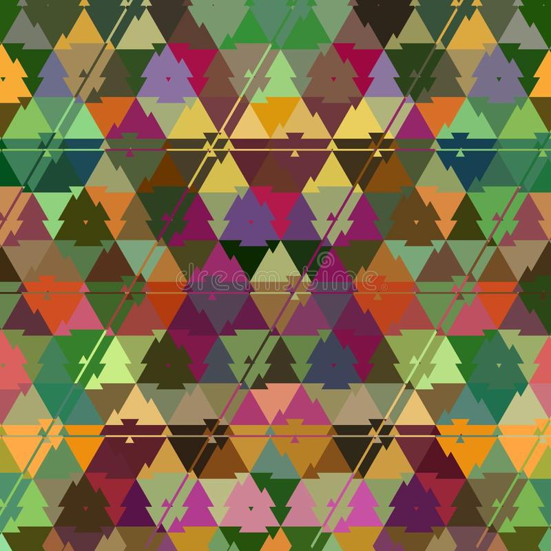 Colorful rainbow camouflage triangle continuous pattern stock illustration