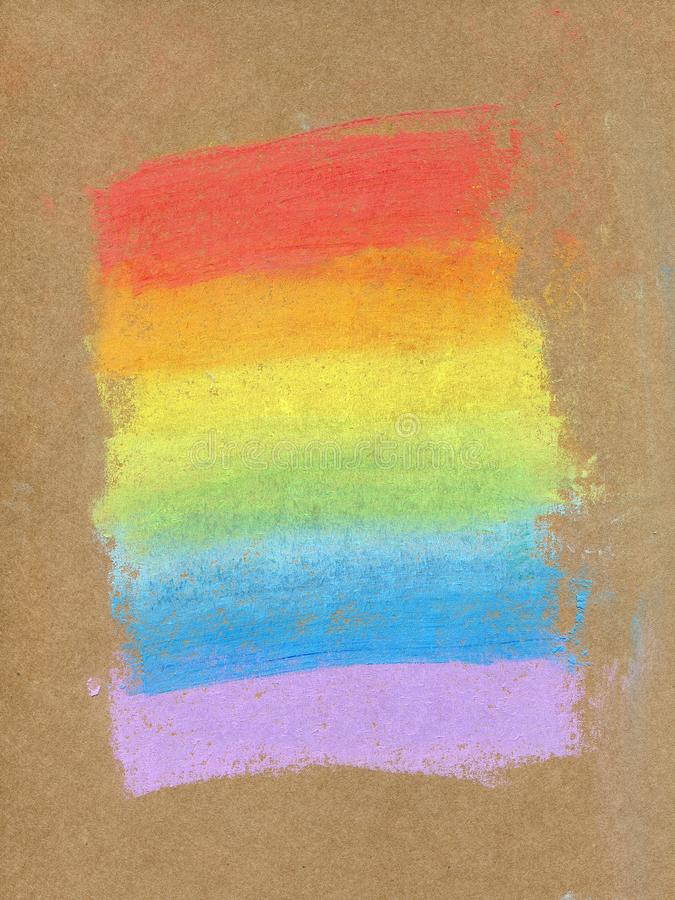 Colorful rainbow chalk pastel background / soft pastel. Rainbow gradient, hand drawn on a craft paper, with rough texture.  stock illustration