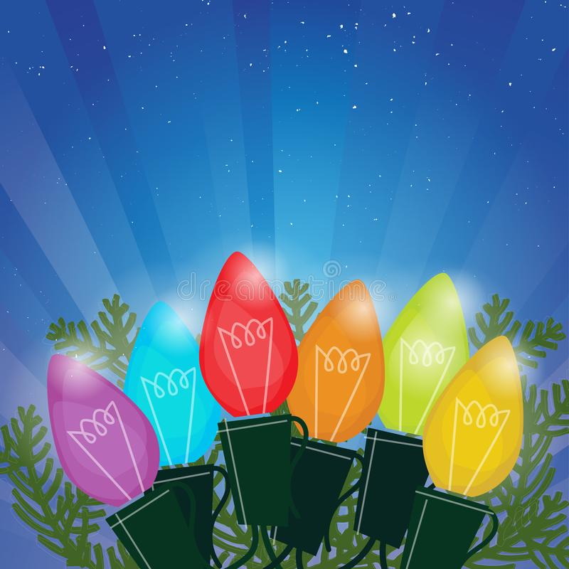 Retro Christmas Lights Radiant Background. Colorful rainbow of Christmas lights on a starry night with radiant glow vector illustration