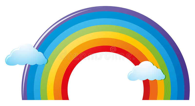 Colorful rainbow and clouds stock illustration