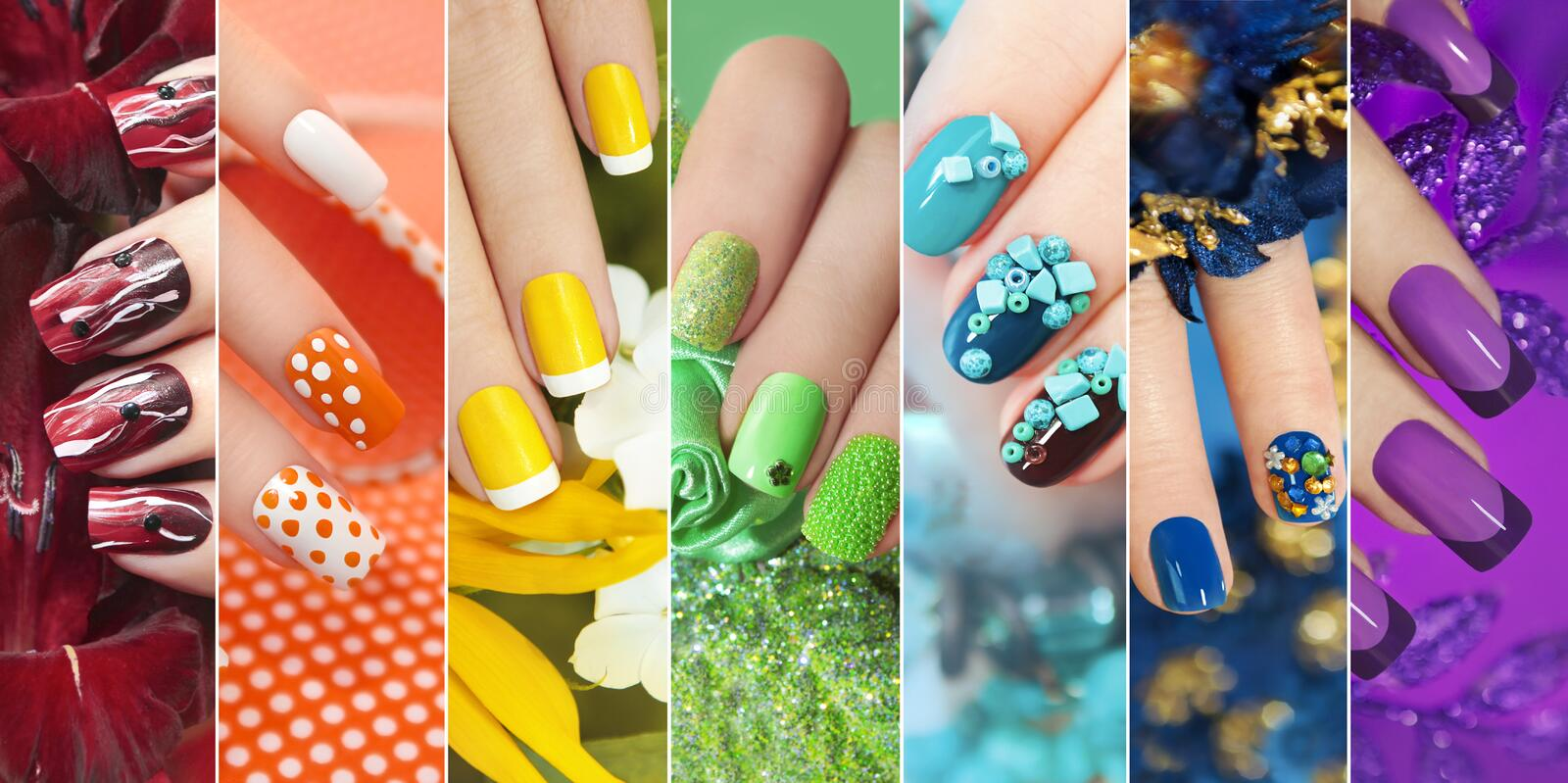 Colorful rainbow collection of nail designs. Colorful rainbow collection of nail designs for summer and winter holidays royalty free stock images