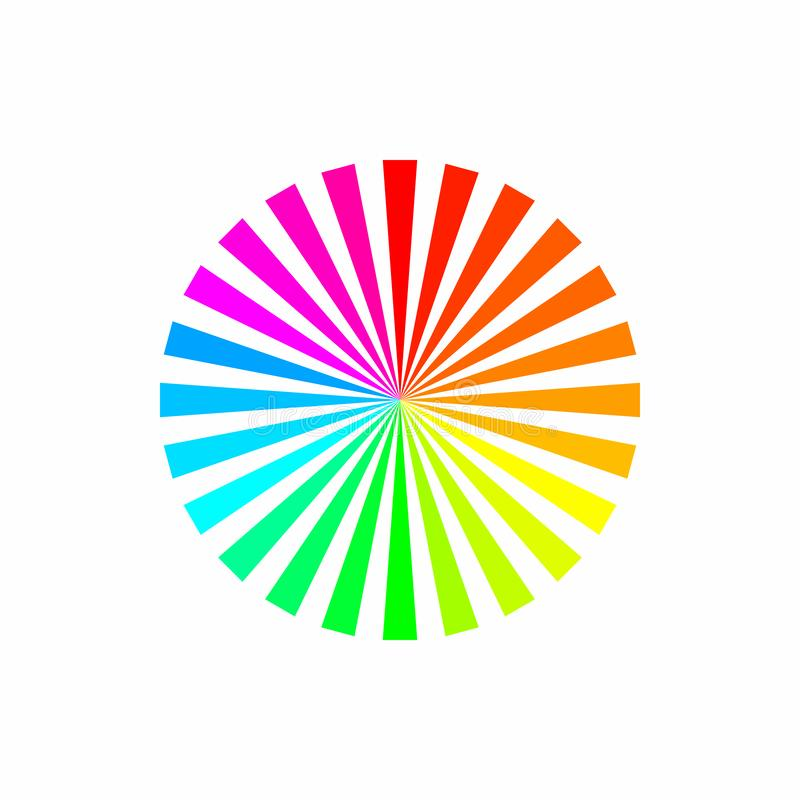 Colorful rainbow color abstract sunburst circle pattern on white background. stock illustration