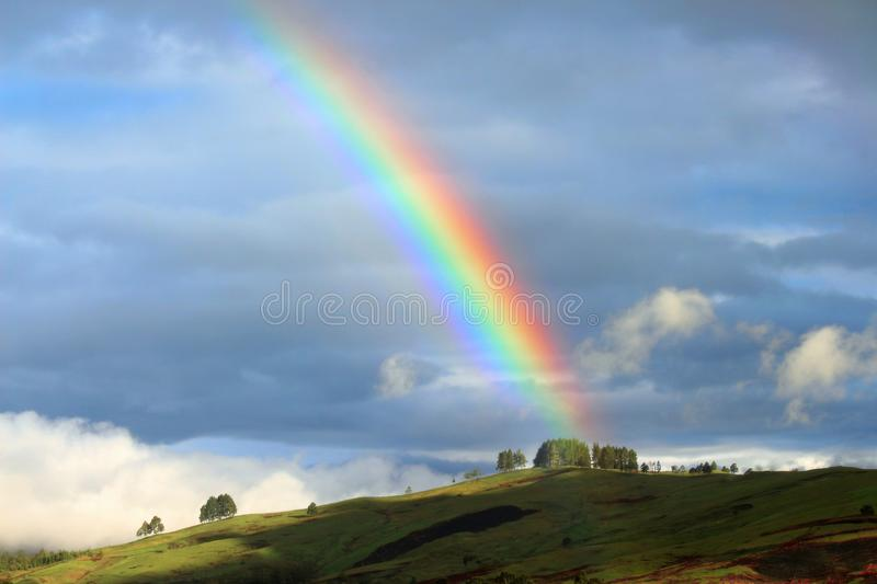 Colorful rainbow in Papua New Guinea royalty free stock photo